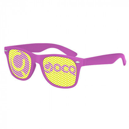 Retro Custom Promotional Sunglasses with Logo Lenses-Branded Giveaways Purple