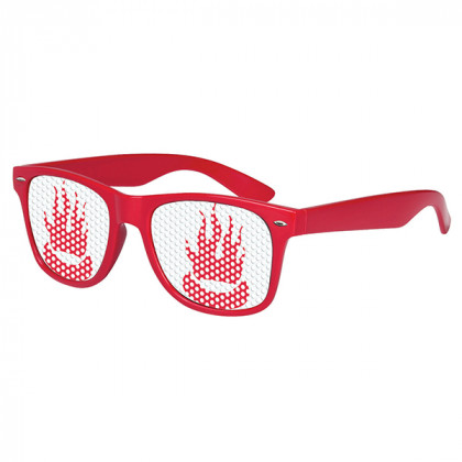 Retro Custom Promotional Sunglasses with Logo Lenses-Branded Giveaways Red