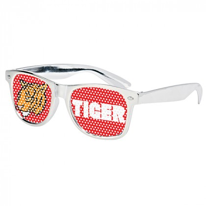 Retro Custom Promotional Sunglasses with Logo Lenses-Branded Giveaways Silver