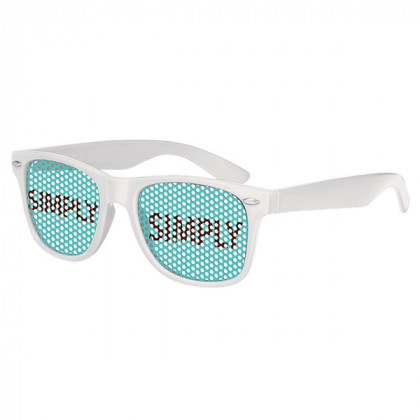 Retro Custom Promotional Sunglasses with Logo Lenses-Branded Giveaways White