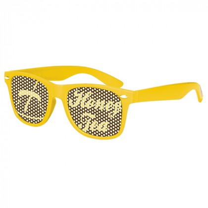 Retro Custom Promotional Sunglasses with Logo Lenses-Branded Giveaways Yellow