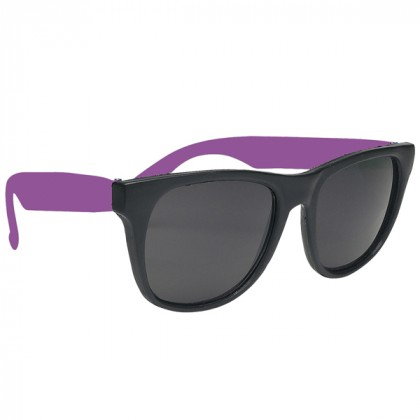Rubberized Promotional Sunglasses with Business Logo - Black/Lavender