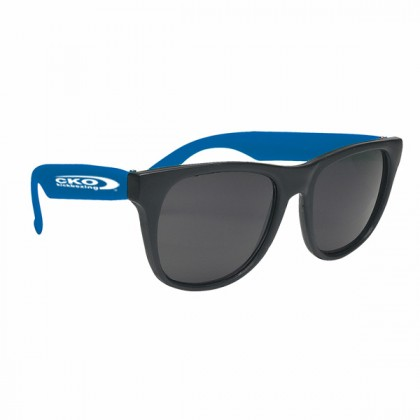 Rubberized Promotional Sunglasses with Business Logo - Black/Blue