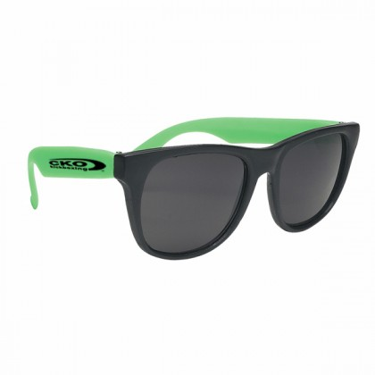 Rubberized Promotional Sunglasses with Business Logo - Black/Green