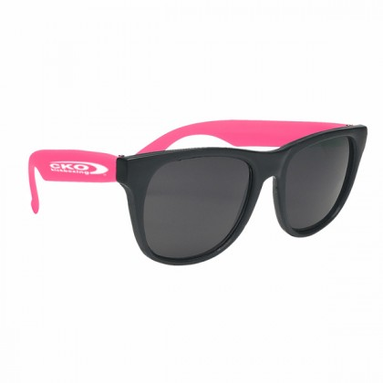 Rubberized Promotional Sunglasses with Business Logo - Black/Pink