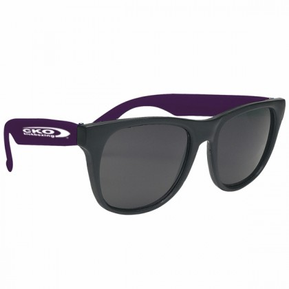 Rubberized Promotional Sunglasses with Business Logo - Black/Purple