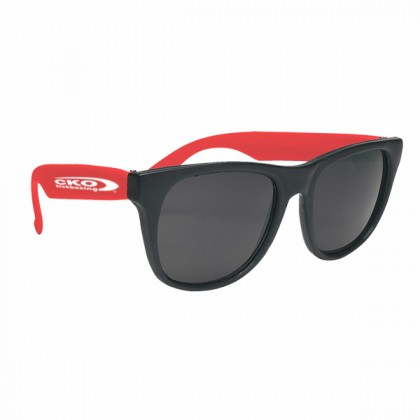 Rubberized Promotional Sunglasses with Business Logo - Black/Red
