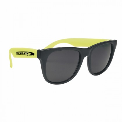 Rubberized Promotional Sunglasses with Business Logo - Black/Yellow