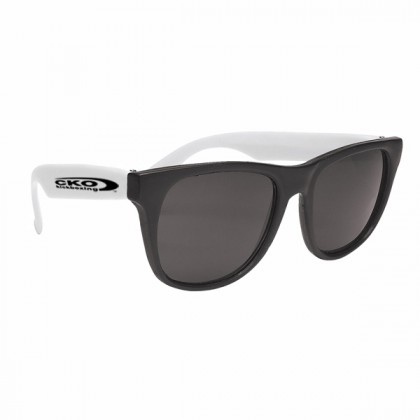Rubberized Promotional Sunglasses with Business Logo - Black/White