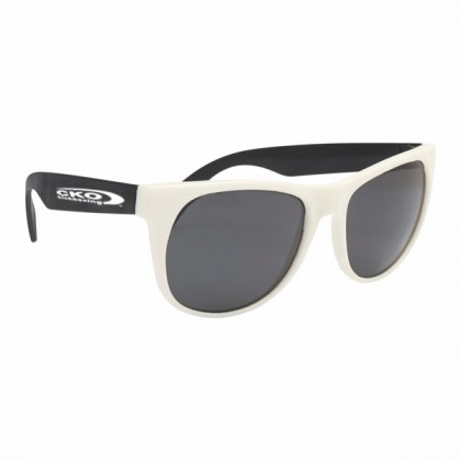 Rubberized Promotional Sunglasses with Business Logo - White/Black