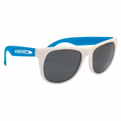 Rubberized Promotional Sunglasses with Business Logo - White/Blue