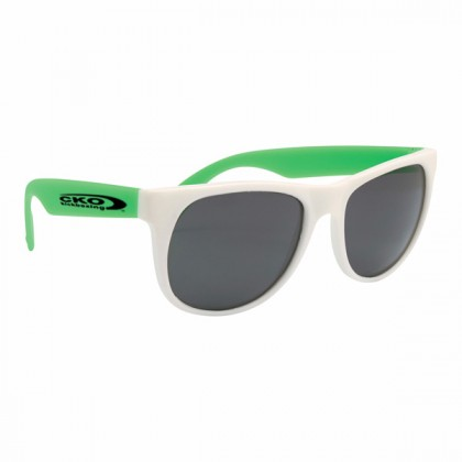 Rubberized Promotional Sunglasses with Business Logo - White/Green