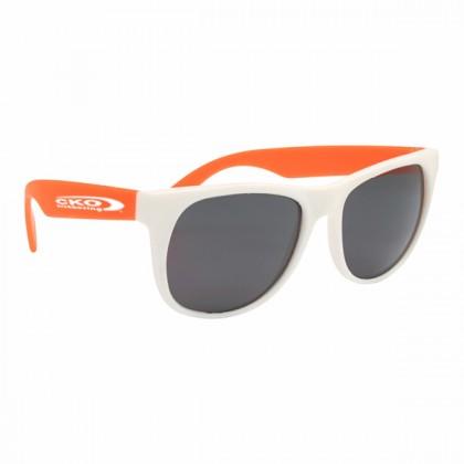 Rubberized Sunglasses - White/orange