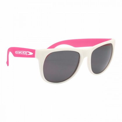 Rubberized Promotional Sunglasses with Business Logo - White/Pink