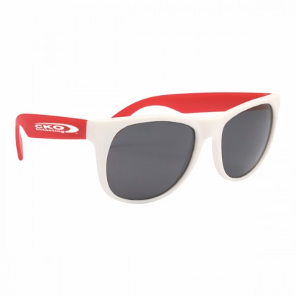 Rubberized Promotional Sunglasses with Business Logo - White/Red