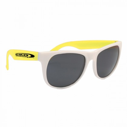 Rubberized Promotional Sunglasses with Business Logo - White/Yellow