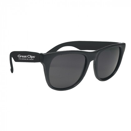Rubberized Promotional Sunglasses with Business Logo Black
