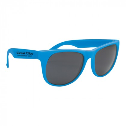 Rubberized Promotional Sunglasses with Business Logo Blue