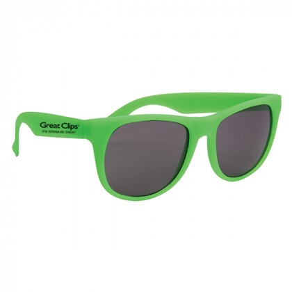 Rubberized Promotional Sunglasses with Business Logo Green