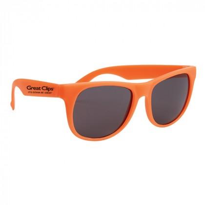 Rubberized Promotional Sunglasses with Business Logo Orange