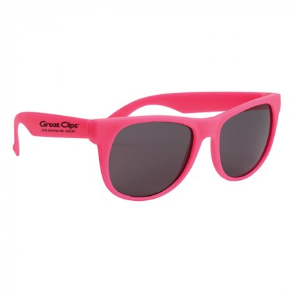 Rubberized Promotional Sunglasses with Business Logo Pink