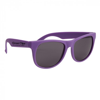 Rubberized Promotional Sunglasses with Business Logo Purple