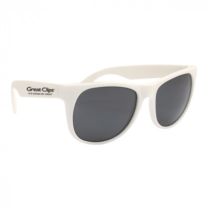 Rubberized Promotional Sunglasses with Business Logo White