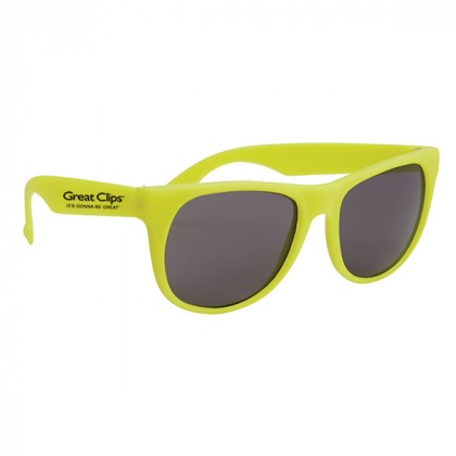 Rubberized Promotional Sunglasses with Business Logo Yellow