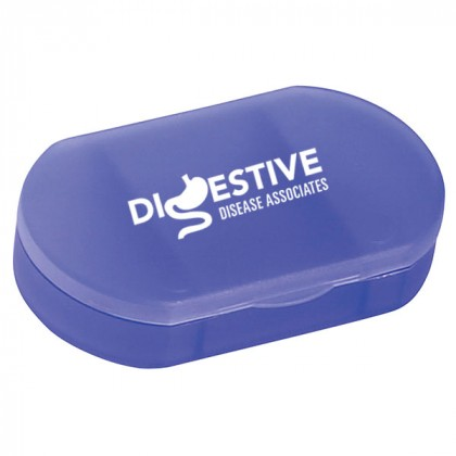 Oval Shape Pill Holder Promotional Custom Imprinted With Logo - Frost Blue