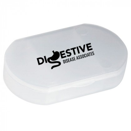 Oval Shape Pill Holder Promotional Custom Imprinted With Logo - Frost Clear