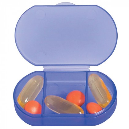 Promotional Oval Shaped Pill Boxes | Custom Shaped Travel Pill Organizers for Giveaways - Frost Blue - Open