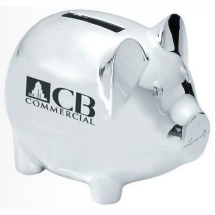 Silver Plated Piggy Bank Custom Logo