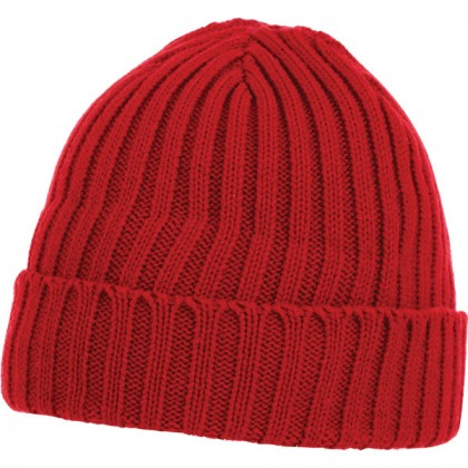 U-Spire Rib custom knit toques with embroidery - promotional winter hats - Team Red