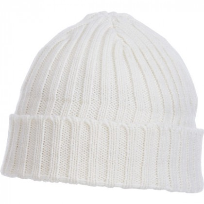 U-Spire Rib custom knit toques with embroidery - promotional winter hats - White