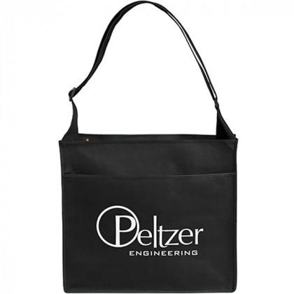 Messenger-Style Convention Logo Tote Bag - black