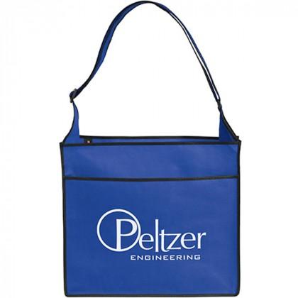 Messenger-Style Convention Logo Tote Bag - royal blue