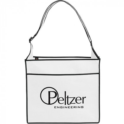 Messenger-Style Convention Logo Tote Bag - white