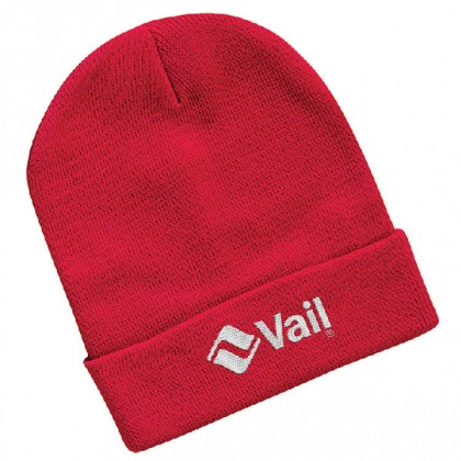 "Sportsman 12"" Knitted Wholesale Beanies with embroidered logo - Knit toques - Red"