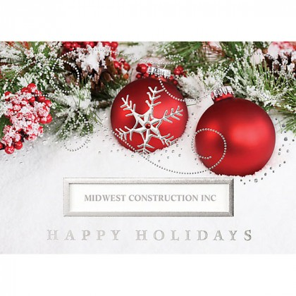Business Christmas Cards.Red Ornaments Die Cut Greeting Card