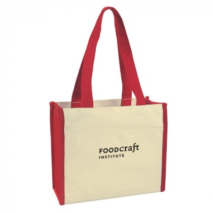 Red Cotton Canvas Tote Bag Custom Logo