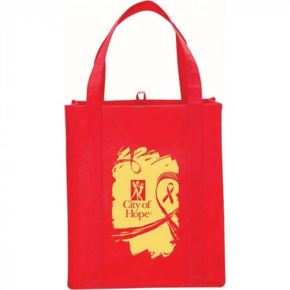 Red Big Polypro Grocery Tote Custom Logo