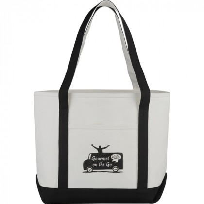 Premium custom printed canvas tote bag with contrast handles - 12 oz canvas - Black