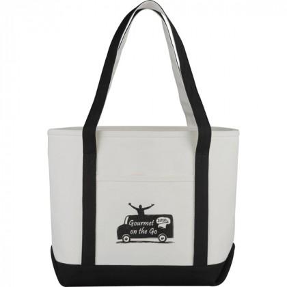 Premium custom printed canvas tote bag with contrast handles - 12 oz canvas - Black