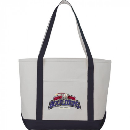 Premium custom printed canvas tote bag with contrast handles - 12 oz canvas - Blue