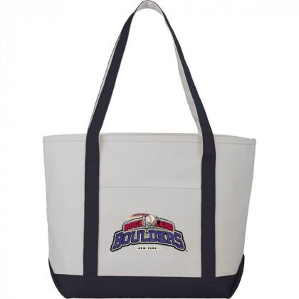 Premium custom printed canvas tote bag with contrast handles - 12 oz canvas - Blue
