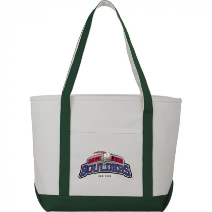 Premium custom printed canvas tote bag with contrast handles - 12 oz canvas - Green