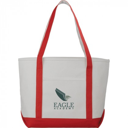 Premium custom printed canvas tote bag with contrast handles - 12 oz canvas - Red