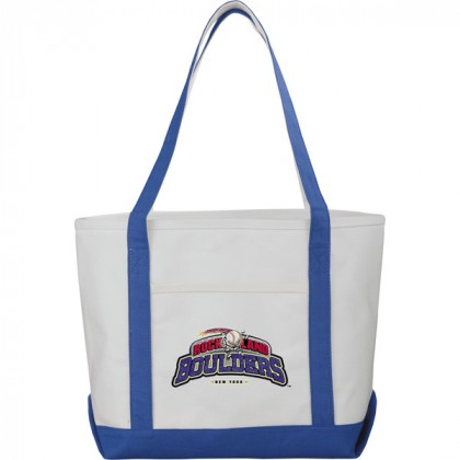 Premium custom printed canvas tote bag with contrast handles - 12 oz canvas - Royal Blue