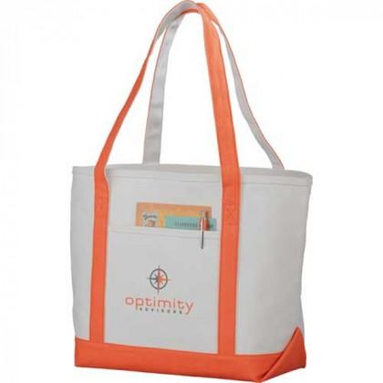 Premium custom printed canvas tote bag with contrast handles - 12 oz canvas - Orange