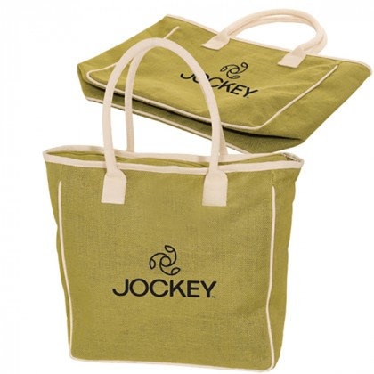 Seville Jute/Canvas Tote - Lime Green